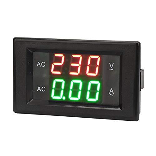 Medidor Digital de Amperios, Pantalla LED Voltímetro de Medidor de Amperios de CA, Medidor de Voltaje de Doble Amperio de Alta Precisión