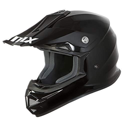 iMX FMX Casco de motocicleta para motocross FMX Enduro Carcasa de policarbonato Almohadillas desmontables para mejillas y forro de casco Ventilación Aprobado por ECE, negro, M