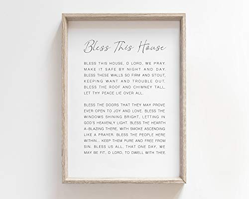 onepicebest Wood Framed Decor Sign, Bless This House Irish Blessing Print Sign Quote Art Wedding Gift Prayer Wall Art Decor Simple Saying Bless Celtic Christian Gifts, 8 x 12 Inch (Natural Frame)