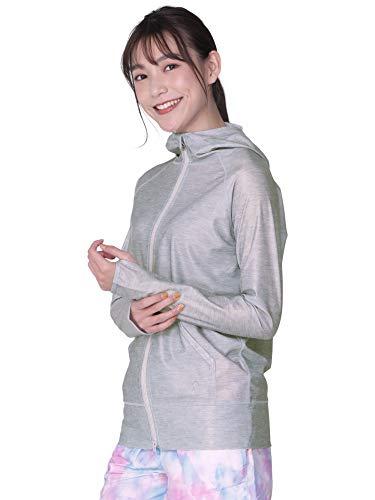 Icepardal IR-7100 Rash Guard Hoodie, Women's Swimsuit, 20 Colors, Non-See-through White, S-4L, UPF 50+ YKK Double Zip, grey