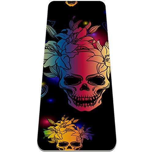 Eslifey Colorido tapete de yoga con diseño de calavera y mariposa, grueso y antideslizante, para mujeres y niñas, tapete de ejercicio suave para pilates (72 x 24 pulgadas, 0,6 cm de grosor)