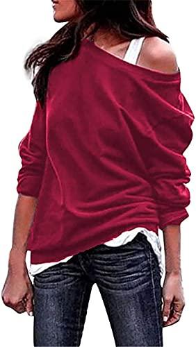 Kneris Mujer Sudadera Manga Larga Casual Cuello Redondo Jersey Suéter (Rojo, XX-Large)