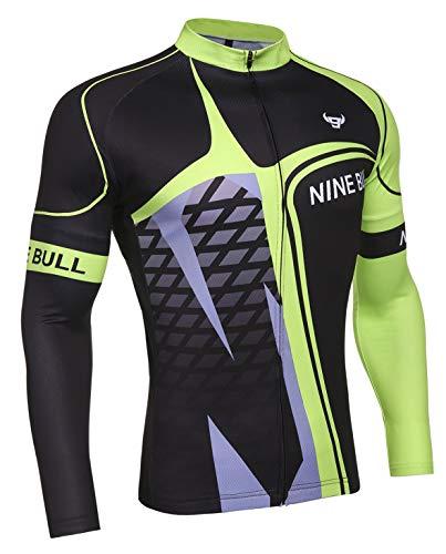 nine bull Fahrradtrikot für Herren, langärmlig, mit 3 Rückentaschen, feuchtigkeitsableitend, atmungsaktiv, schnell trocknend - Gr�n - Klein