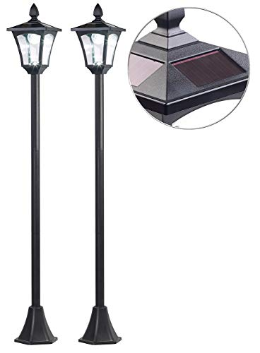 Royal Gardineer Solarlaternen: 2er-Set Solar-LED-Gartenlaternen, Dämmerungssensor, 40 lm, dimmbar (Wegeleuchten Laterne)