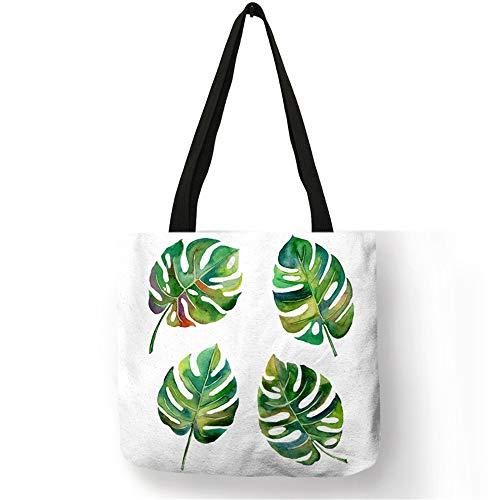 LANGPIAOEZU Viaje 2018 Planta Tropical Caliente de la Manera Bolsas de Mano de Las Mujeres Bolsos de la Moda piña Floral Cactus impresión Cesta Viajar Bolsas Escuela Recuerdos (Color : 004)