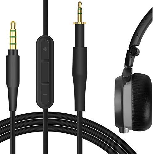 Geekria QuickFit Kabel mit Mikrofon, kompatibel mit ÂKG K451, K452, Q460, K480, K430, K450 Kopfhörerkabel, 2,5 mm AUX-Ersatz-Stereo-Kabel mit Inline-Mikrofon und Lautstärkeregler, 1,2 m, Schwarz
