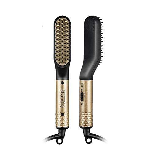 Alisador para barba - Cepillo alisador multifunción - Cepillo eléctrico para barba - Cepillo para pelo alisador de temperatura ajustable - Cable giratorio de 360 grados