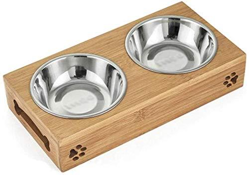 Voedsel voor huisdieren Dubbele kommen Bamboe rek Roestvrijstalen voer- en waterbak voor katten Honden voerbak Voerbak voor voer Gieter Voerbak voor huisdieren schoon (geel, maat: 11,61 * 5,51 * 1,96 inch)