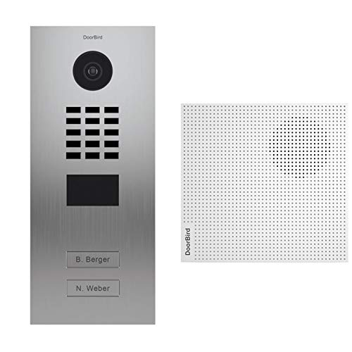 Doorbird D2102V video-deurintercom met 2 deurbellen + deurbel, roestvrij staal