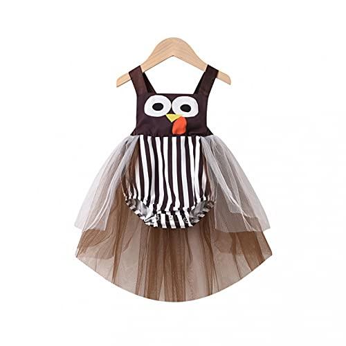 YWLINK Baby Girl Disfraz de Halloween Mameluco Escote Redondo sin Mangas de Tul con Estampado de Sonrisa Espeluznante Vestido Estilo Mameluco Halter de Malla 3-18 Meses
