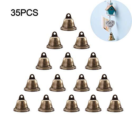 35 STKS Vintage Bronzen Jingle Bells, 38 mm Kerst Jingle Klokken Ringen Kerst Boom Ornamenten Hangers voor Kerstboom Decoratie, Het maken van Wind Chimes, Hond Deurbel & Potty Training, Huisbrekende