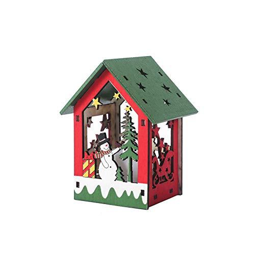 ZXXFR Kerstmis decoratieve hanger, creatieve sneeuwpop LED-lampen houten huis vakantiehuis kerstboom hangers ornament decoratie Xmas party hangende decoratie geschenk