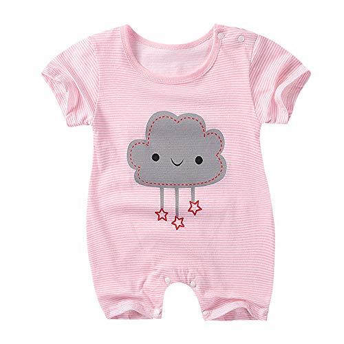 Strampler Baby Sommer, Treer Kurzarm Babykleidung Mädchen Junge Unisex Spielanzug Baumwolle Schlafanzug für Neugeborene, Babies und Kleinkinder in Verschiedenen Größen (Wolke,80)