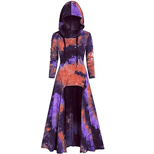 Sudaderas con capucha retro de otoño e invierno para mujer con estampado de teñido anudado Jersey de manga larga Vestido de sudadera con túnica suelta de gran tamaño manga larga para mujer con cordón