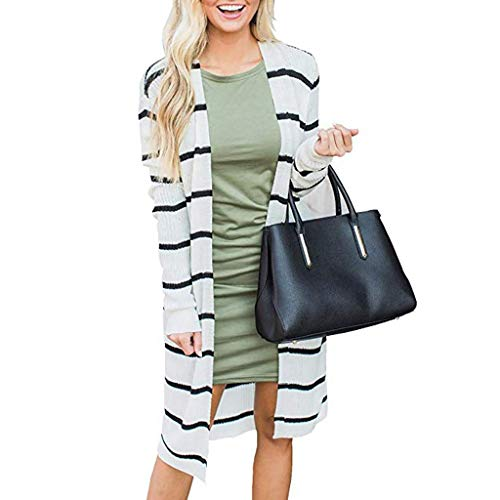 Lowest Price! HunYUN Women Cardigan Blouse Long Sleeve Striped Open Front Sweatshirt Casual Knitted ...