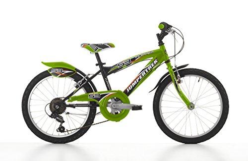 Cicli Cinzia Bicicletta 20' MTB Flipper per Bimbo, 6/V Revo Shift V-Brake Alu. Nero/Verde