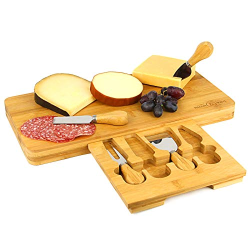 The perfect set, this bamboo cheese board makes an excellent serving platter for all your variety of cheeses. The 4 included tools make it a breeze to serve your chosen snack. Made from 100% bamboo the cheese board is naturally durable and water resi...