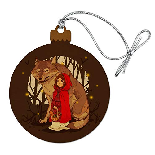 GRAPHICS & MORE Little Red Riding Hood with Wolf in Woods Wood Christmas Tree Holiday Ornament