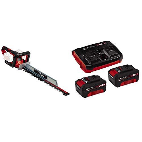 Einhell 3410960 Cortasetos con batería, Rojo/Negro + Kit de iniciación PXC 2 x 3.0 Ah y el kit de cargador doble