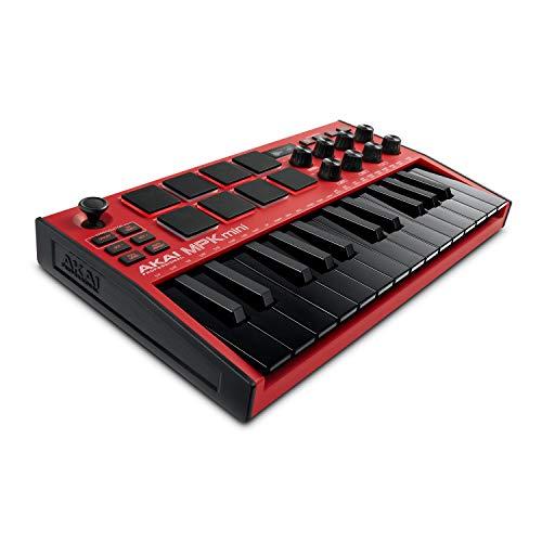 AKAI Professional MPK Mini MK3 Red - 25-Tasten USB MIDI Keyboard Controller, 8 hintergrundbeleuchtete Drum Pads, 8 Regler, Musikproduktion-Software