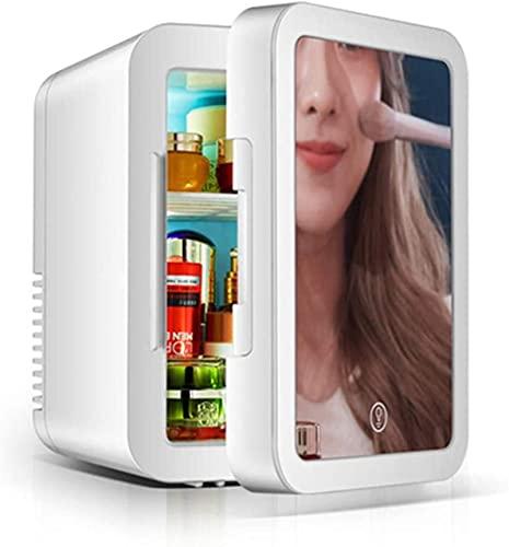 showyow Mini frigo, 5 Litri Specchio Portatile Frigorifero Personale Cura della Pelle Conservazione del Trucco Cosmetici di Bellezza Frigorifero Freddo e Caldo per Camera da Letto Spento