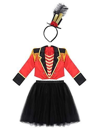 iixpin Niñas Disfraz Director de Pista de Circo para Carnaval Navidad Trahje de domadora Ropa Conjuntos de Top y Falda Negra Sombrero