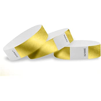 "WristCo Deep Metallic Gold 3/4"" Tyvek Wristbands - 100 Pack Paper Wristbands for Events"