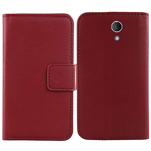 Gukas Genuine Leather Case for Tracfone TCL LX 4G LTE Prepaid (A502DL) Wallet Premium Flip Protection Cover Skin Pouch with Card Slot (Dark Red)