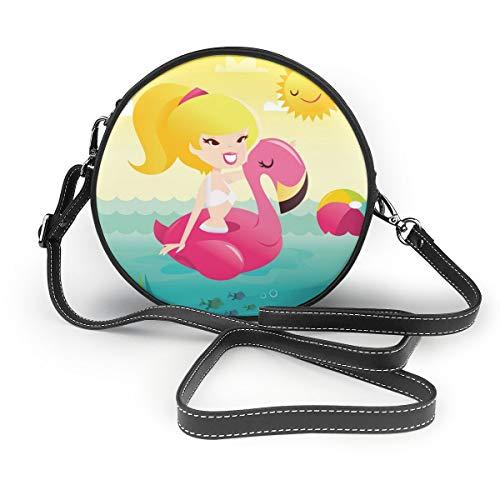 Cartoon Retro Happy Bikini Meisje Op Flamingo Zwembad Ronde Schoudertas Echte Lederen Messenger Bag Vintage Crossbody Verstelbare Schouderband Voor Vrouwen