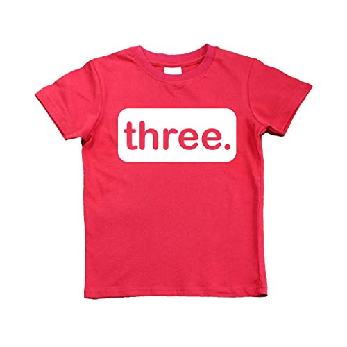 3rd Birthday Shirt boy Third Outfit 3 Year Old Toddler Gift Baby Tshirt Party Shirts (Red, 4y)