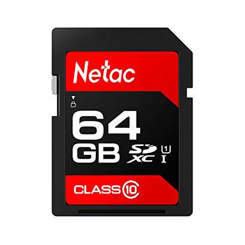 docooler Netac P600Tarjeta SD SDHC/SDXC UHS-I Tarjeta de Memoria Clase 1080MB/s U1Alta Velocidad de 128/64/32/16GB para cámara réflex y dv (tecnología Rojo) 64 GB