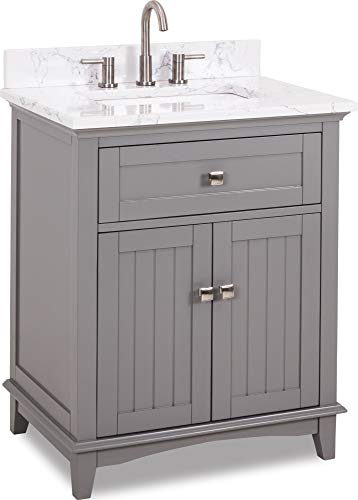 Buy Bargain 30 vanity with Grey finish, satin nickel hardware, contemporary design, and preassemble...