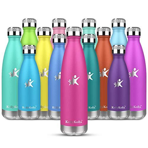 KollyKolla Botella de Agua Acero Inoxidable, Termo Sin BPA Ecologica, Botellas Termica Reutilizable Frascos Termicos para Ninos, Deporte, Oficina, Yoga, Gimnasio, Ciclismo, (350ml Rosa)