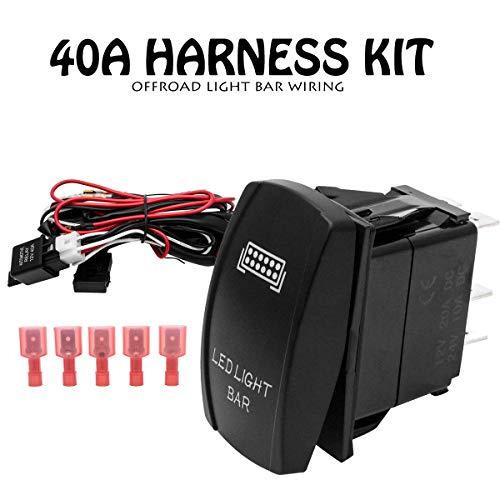 Maso - Interruptor de arnés de cableado para coche, luz LED de trabajo, resistente al agua, iluminada retroiluminada + fusible de relé SUV 4WD para focos azules con interruptores de encendido/apagado