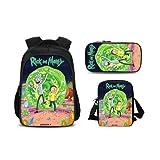 Rick and Morty - Mochila escolar (3 piezas, mochila + bolsa de deporte + estuche (12)