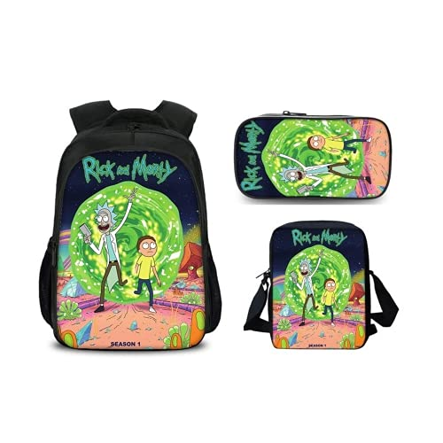 Rick and Morty rugzak 3-delige set schoolrugzak rugzak rugzak sporttas + etui (12)