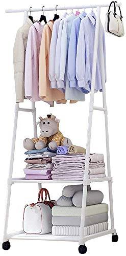 Perchero de pared resistente, para dormitorio, con 2 ganchos laterales, estante inferior de almacenamiento de 2 niveles para zapatos, ropa, tendedero con ruedas (blanco)