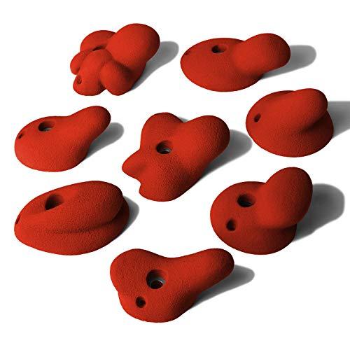 ALPIDEX 8 L/XL Klettergriffe im Set Henkelgriffe Tiefe bis mitteltiefe Hinterschneidungen, Farbe:Power Red