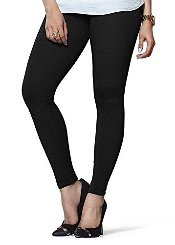 LUX LYRA Women's Ankle Length Leggings, Free Size (Black)