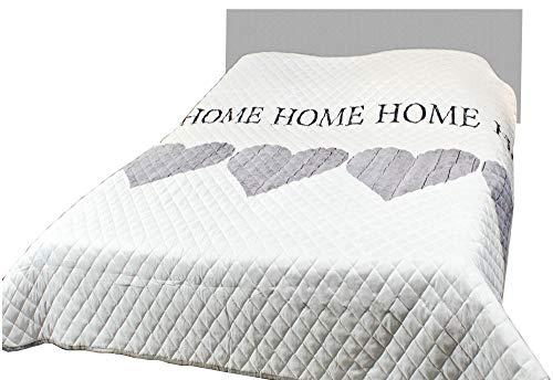 Bestlivings Tages-Decke XXL (220x240 cm) mit wattierter Zwischenlage, in verschiedenen gesteppten Patchwork Designs, Überwurf Steppbett (Design: Home Herz)