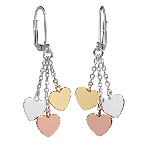 Perlkönig   Damen Frauen   Ohrringe Set   Ear Cuffs   Silber Gold Rose Farben   Herzen   Nickelabgabefrei