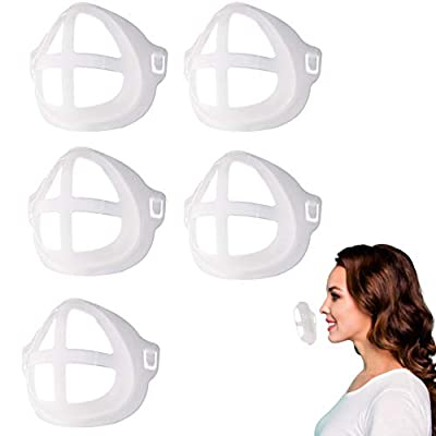PPY 5PCS 3D Mask Bracket for Comfortable Wearing | Silicone Mask Bracket | Silicone Inner Support Frame |Keep Fabric Off Mouth to Create More Breathing Space | Reusable Washable Translucen-B708/6K9