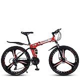 HBBH Adultos 27 Velocidad Unisex Plegable Bicicleta de montaña Ligera Ciudad de Bicicletas para Mujeres de los Hombres de Las señoras con Asiento Ajustable Comodidad de una Silla, 26 Pulgadas,Rojo