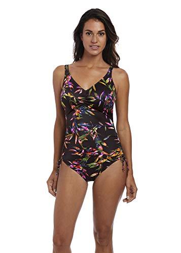 Fantasie Womens Palawan Underwire V-Neck Adjustable Leg Swimsuit, 34D, Black