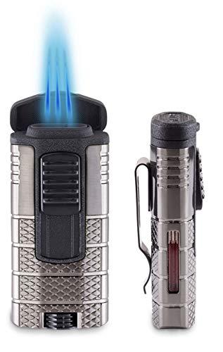 Lifestyle-Ambiente Xikar Tactical - Mechero Triple con Llama de Chorro de Metal Negro y Arco de pulsación