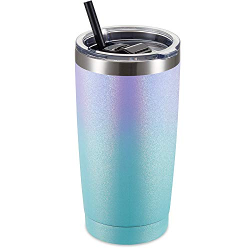 ALOUFEA 20oz Stainless Steel Tumbler with Lid and Straw, Vacuum Insulated Tumbler Cup, Double Wall Coffee Tumbler, Powder Coated Travel Coffee Mug, Dreamy Sea