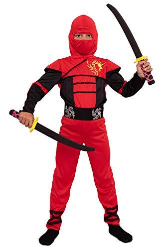 Magicoo Ninja Kostüm Kinder Jungen Gr 92 bis 140 Rot - Fasching Kinder Ninja Kostüm Kind (122/128)