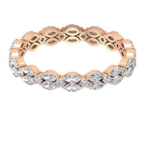 Rosec Jewels - 14 Kt Rotgold Markise Runder Brilliantschliff Leicht Getöntes Weiß/Top Crystal (I) Diamant
