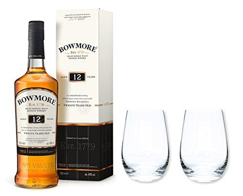 Bowmore Whisky Single Malt Scotch 12 Jahre 40% 0,7 im Set mit 2 Tumbler Gläser