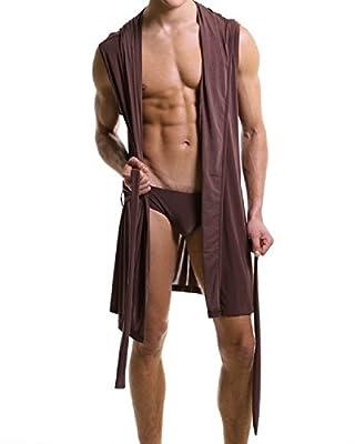 Men's Silk Bathrobe Hooded Sleeveless Open Front Sleepwear Pajamas